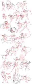Fight Sketches by Flipfloppery