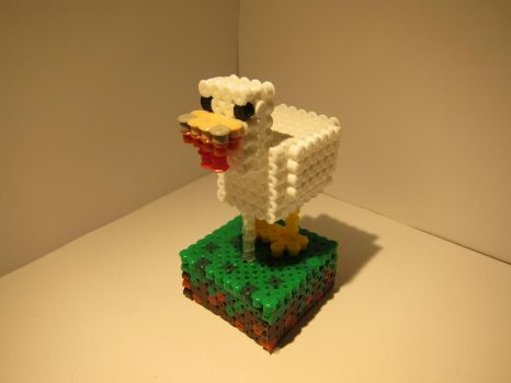 PerlerBeads: 3D Minecraft Chicken by zorberema