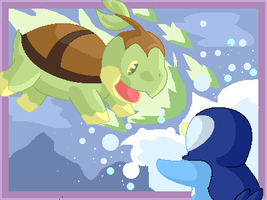 Turtwig and piplup by Lilchan16