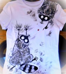 Textile painting. Raccoons by Deygira-Blood