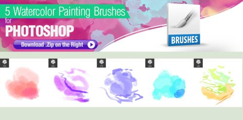 5 Watercolor Brushes for Photoshop by pixelstains