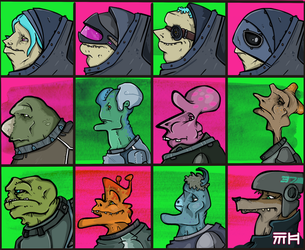 Sci-Fi Profiles for a game by yellowbouncyball