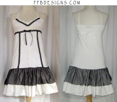 White dress with black accents by funkyfunnybone