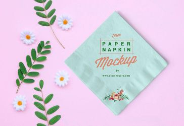 Free Table Paper Napkin Mockup PSD by Designbolts