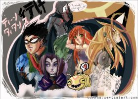 Titans Group Scribble by Turyn by teentitans