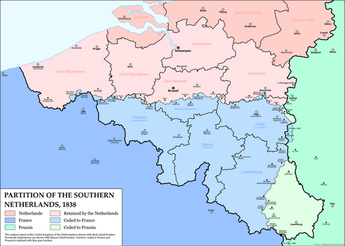 Partition of the Southern Netherlands, 1838 by altmaps