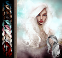 Nola Hi Res Instant Hair STOCK PSD x 10 colours by MakeMeMagical