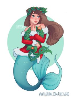 Holiday Mermaid by ChrissaBug