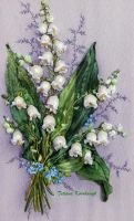 Lilly of valley,silk ribbon embroidery by TetianaKorobeinyk