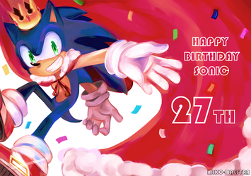 Happy 27th Birthday Sonic by miko-maestra