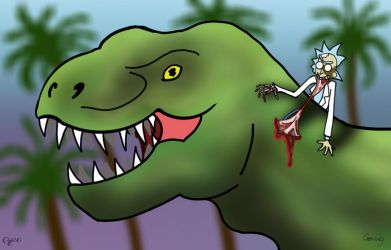 Zombie Rick vs. T-Rex by WildPencil
