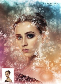 Celebratum 2 - Christmas Snowflakes PS Action by GraphicAssets