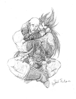 Nappa, Raditz and Gohan by DarkFalcon-Z