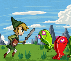 Link's Battle with Chuchu's by Icy-Snowflakes