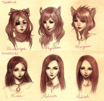 tsubelle and azurielle1 headshots by yasa-hime