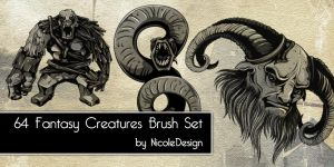 64 Fantasy Creatures Brush Set by noema-13