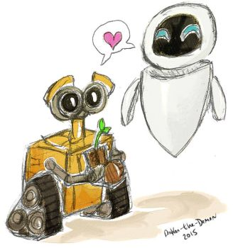 Watercolor - Wall-E and Eve by Drakon-the-Demon