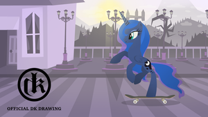 Princess Luna Skateboarding In Old Town by McFlurryLazermuffin