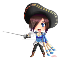 Chibi Fiora royal guard (League of Legends) by Lady-Saturna