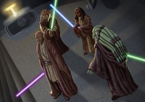 Duel on Coruscant by ChemaIllustration