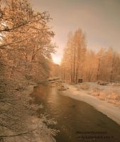 White riverside with sun by ShinyphotoArt