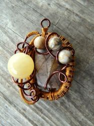 Wire wrapped pendant with jade and jasper by Naldor