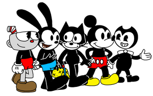 Cuphead Oswald Felix Mickey Bendy walking together by MarcosPower1996