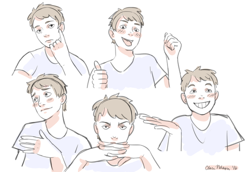 Playful face/hand pose references by clare-the-curious