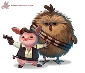 Daily Paint #1120. Ham Solo by Cryptid-Creations