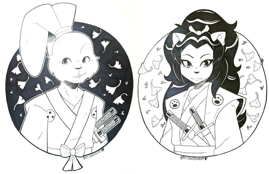 Inktober Day 6 and 7: Usagi and Tomoe by Shellsweet