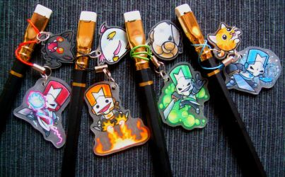 Castle Crashers pencil charms by PixelRaccoon