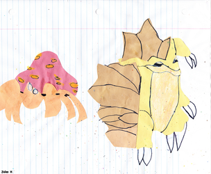 Construction Paper Parasect and Sandslash. by Jules2005