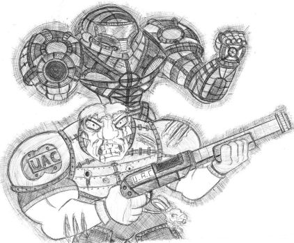 Doomguy and Samus Aran- A Tribute by ImmanuelWolf