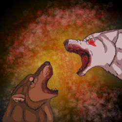 Two Wolves Fighting by ScarletCB1999