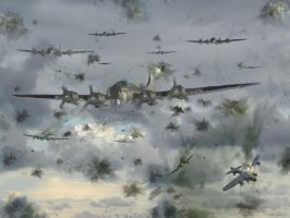Heavy Flak over Leuna ~ 1944 by zulumike
