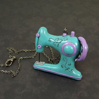Retro Sewing Machine Necklace by beatblack