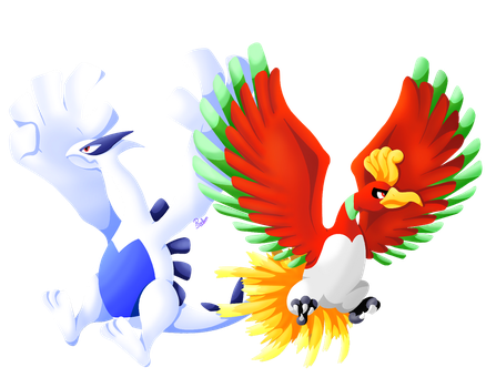 Ho-Oh and Lugia by Pixellem