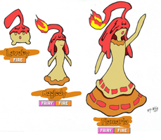Fakemon: Lavaby, Maglody and Flamaria by AlainMadHatter