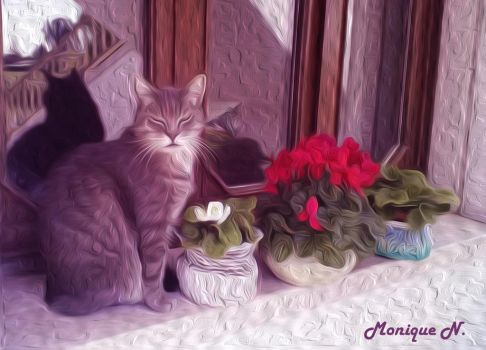 Cat and flowers by MoniqueNamie