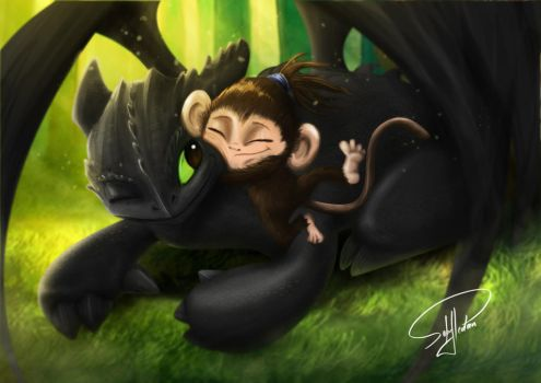 Dragon and Monkey by Serugui