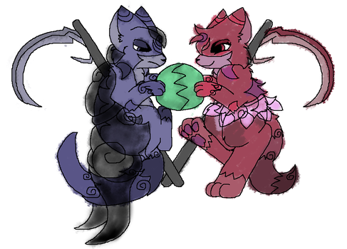 A character sketch of two solar cat reapers by SkyPaint1