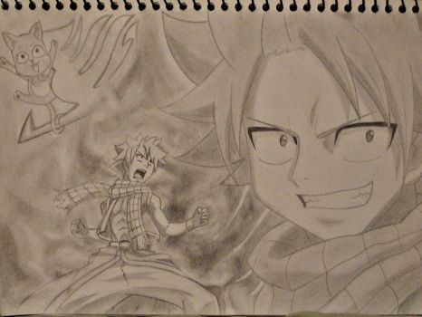 Natsu -And Happy- In the Flame by FadeElaDee
