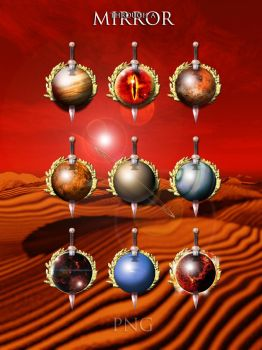 Through a mirror Planets with Sword PNG Iconset by yereverluvinuncleber