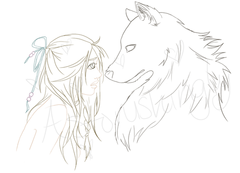Wolf + girl lines by Astonishingly