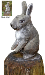 wood sculpture Rabbit by MariaRaute2