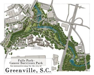Falls Park Greenville SC map 2016 [2018 edit] by SirInkman