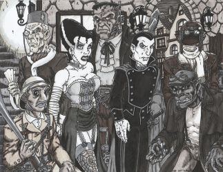 Steampunk Universal Monsters by Crash2014