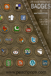 28 Social Media Icon Badges by peachpops
