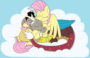 Sunday Snuggles (Fluttershy x Discord) by faitheverlasting