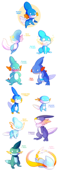 Mudkip Variations (now available in store) by NERD-that-DRAWS